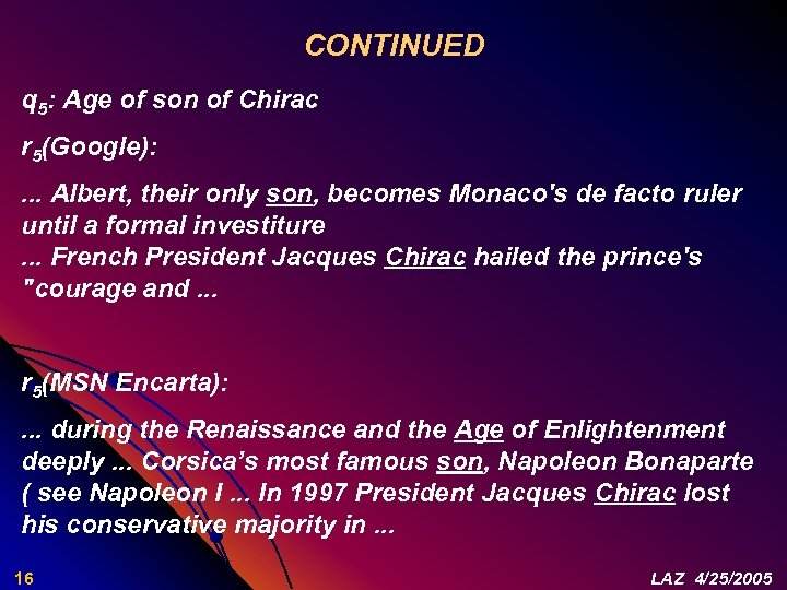 CONTINUED q 5: Age of son of Chirac r 5(Google): . . . Albert,