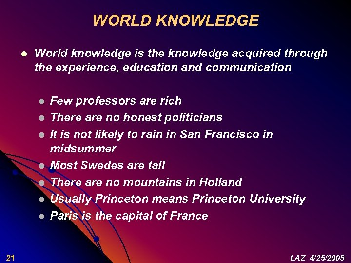 WORLD KNOWLEDGE l World knowledge is the knowledge acquired through the experience, education and
