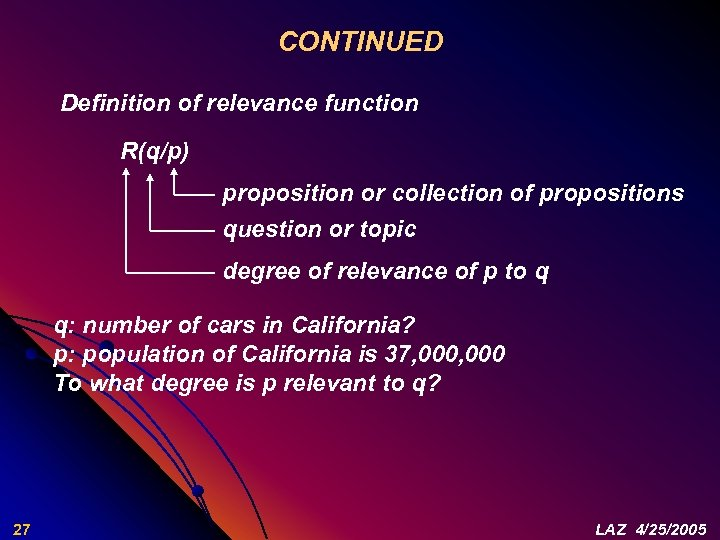 CONTINUED Definition of relevance function R(q/p) proposition or collection of propositions question or topic