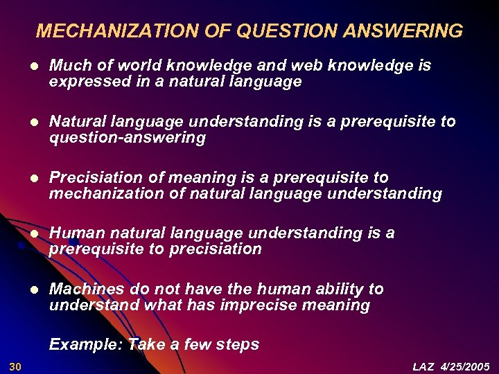 MECHANIZATION OF QUESTION ANSWERING l Much of world knowledge and web knowledge is expressed