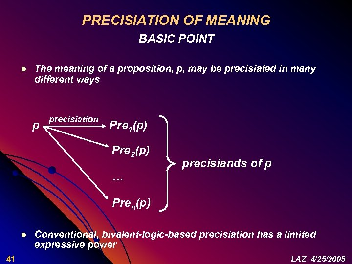 PRECISIATION OF MEANING BASIC POINT l The meaning of a proposition, p, may be
