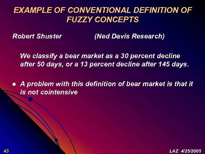 EXAMPLE OF CONVENTIONAL DEFINITION OF FUZZY CONCEPTS Robert Shuster (Ned Davis Research) We classify