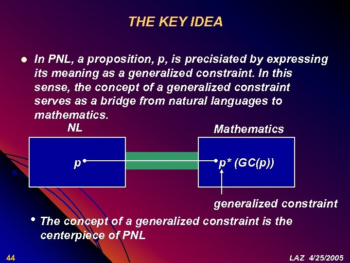 THE KEY IDEA l In PNL, a proposition, p, is precisiated by expressing its