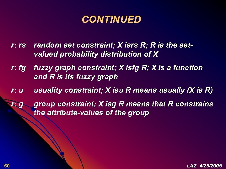 CONTINUED r: rs r: fg fuzzy graph constraint; X isfg R; X is a
