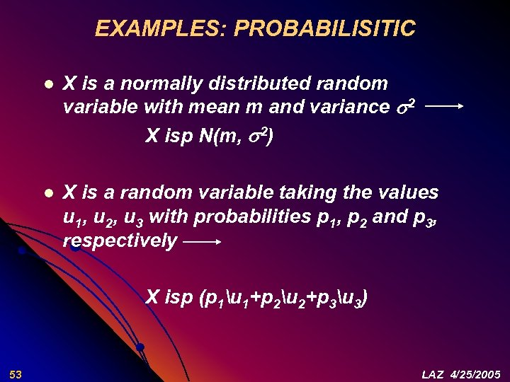 EXAMPLES: PROBABILISITIC l X is a normally distributed random variable with mean m and
