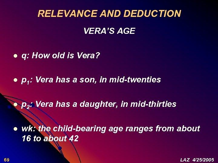 RELEVANCE AND DEDUCTION VERA'S AGE l l p 1: Vera has a son, in