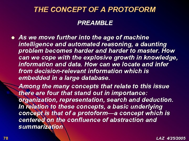 THE CONCEPT OF A PROTOFORM PREAMBLE l 78 As we move further into the
