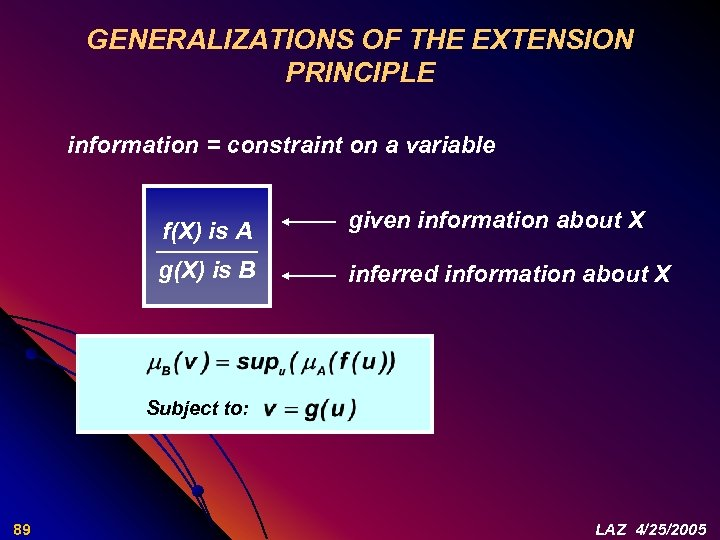 GENERALIZATIONS OF THE EXTENSION PRINCIPLE information = constraint on a variable f(X) is A