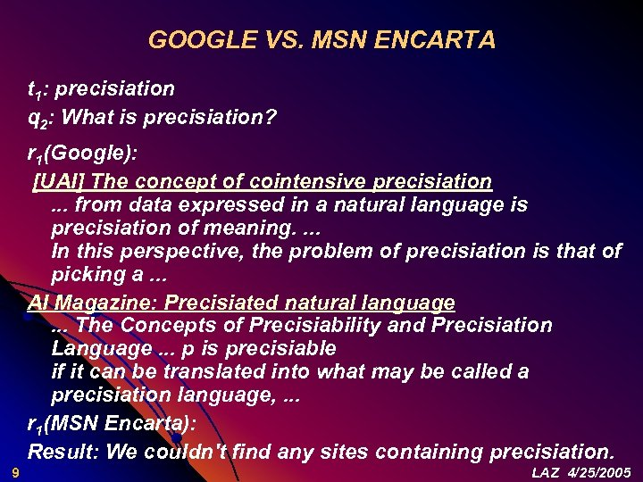 GOOGLE VS. MSN ENCARTA t 1: precisiation q 2: What is precisiation? r 1(Google):