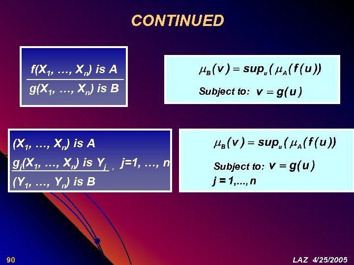 CONTINUED f(X 1, …, Xn) is A g(X 1, …, Xn) is B Subject