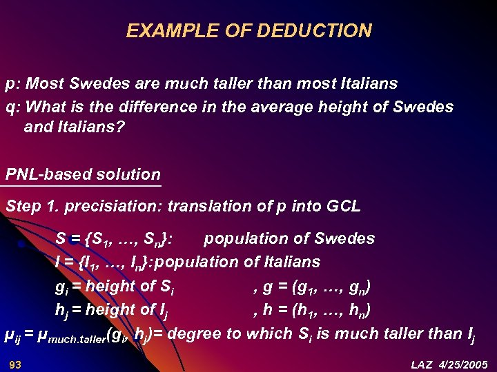 EXAMPLE OF DEDUCTION p: Most Swedes are much taller than most Italians q: What