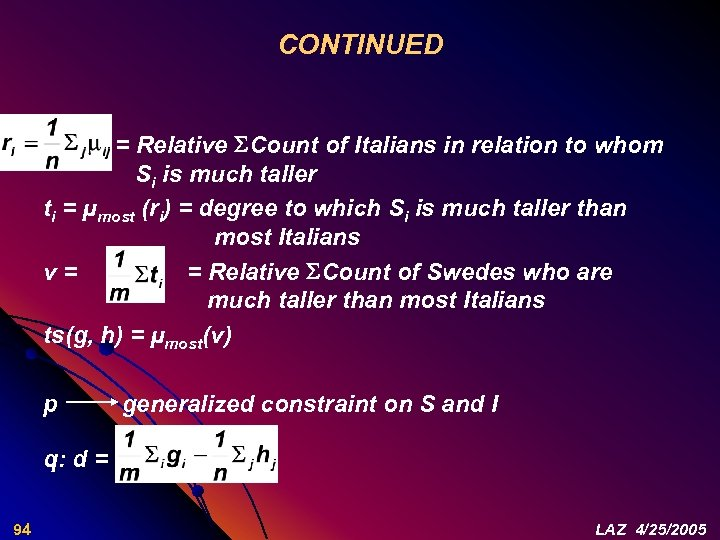CONTINUED = Relative Count of Italians in relation to whom Si is much taller