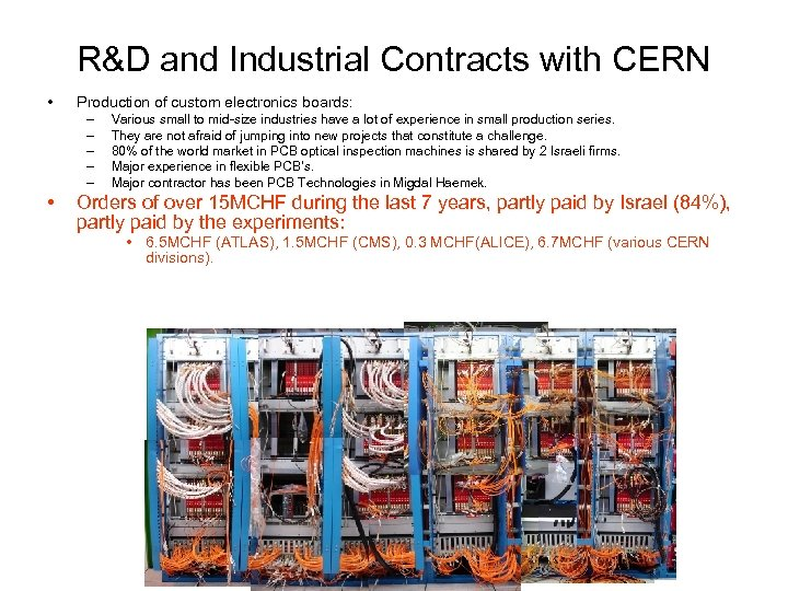 R&D and Industrial Contracts with CERN • Production of custom electronics boards: – –