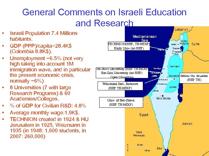 General Comments on Israeli Education and Research • • Israeli Population 7. 4 Millions