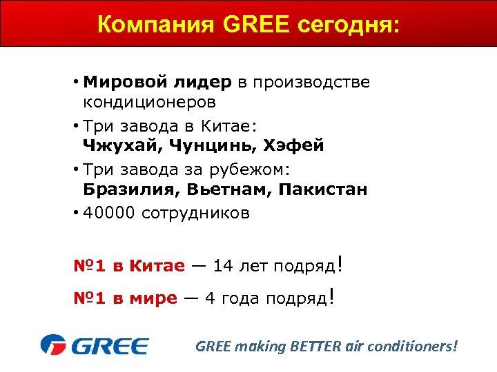 Компания GREE сегодня: • Мировой лидер в производстве кондиционеров • Три завода в Китае: