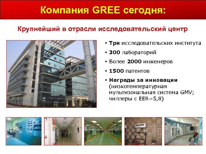 Компания GREE сегодня: Крупнейший в отрасли исследовательский центр • Три исследовательских института • 300