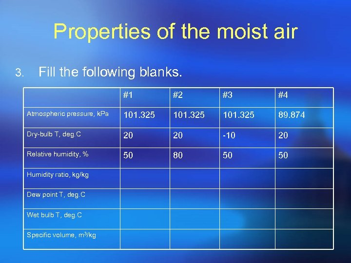 Properties of the moist air 3. Fill the following blanks. #1 #2 #3 #4