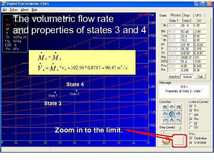 The volumetric flow rate and properties of states 3 and 4 State 3 Zoom