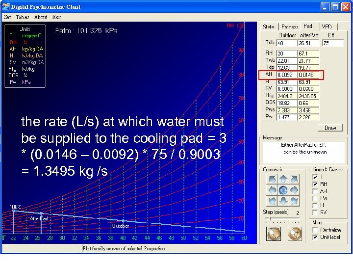 the rate (L/s) at which water must be supplied to the cooling pad =