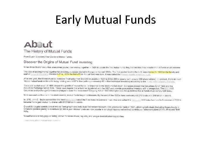 Early Mutual Funds