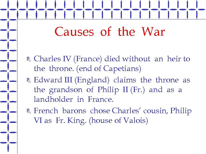 Causes of the War B B B Charles IV (France) died without an heir