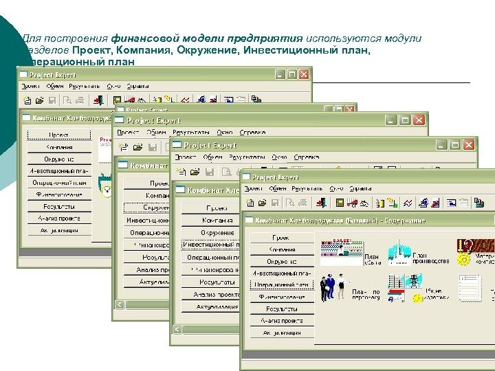Для построения финансовой модели предприятия используются модули разделов Проект, Компания, Окружение, Инвестиционный план, Операционный