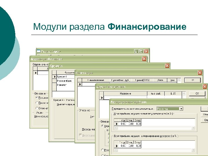 Модули раздела Финансирование