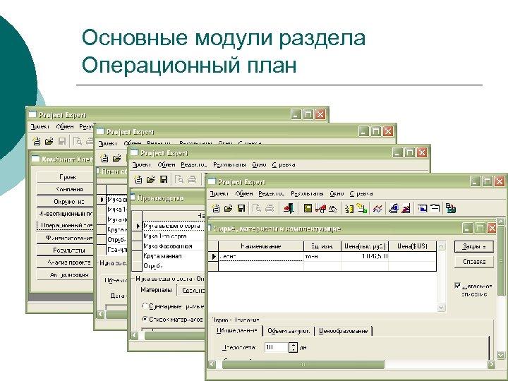 Основные модули раздела Операционный план