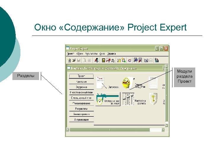 Окно «Содержание» Project Expert Разделы Модули раздела Проект