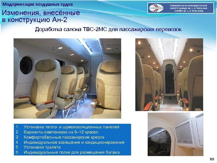 Модернизация воздушных судов Изменения, внесённые в конструкцию Ан-2 Доработка салона ТВС-2 МС для пассажирских