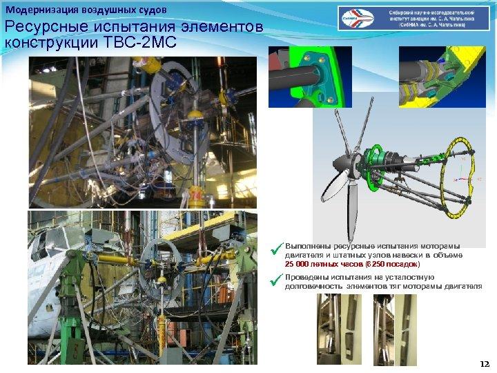 Модернизация воздушных судов Ресурсные испытания элементов конструкции ТВС-2 МС ü Выполнены ресурсные испытания моторамы