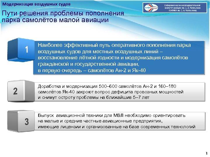 Модернизация воздушных судов Пути решения проблемы пополнения парка самолётов малой авиации Наиболее эффективный путь