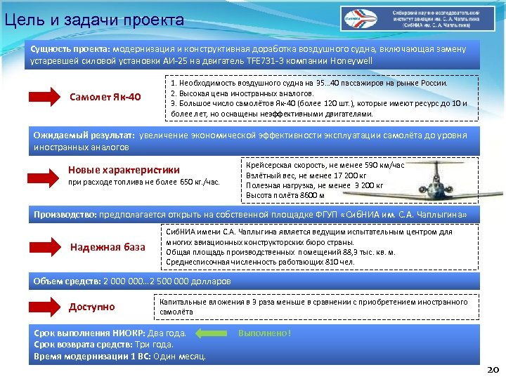 Цель и задачи проекта Сущность проекта: модернизация и конструктивная доработка воздушного судна, включающая замену