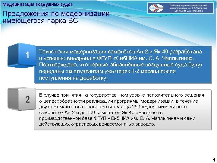 Модернизация воздушных судов Предложения по модернизации имеющегося парка ВС Технология модернизации самолётов Ан-2 и