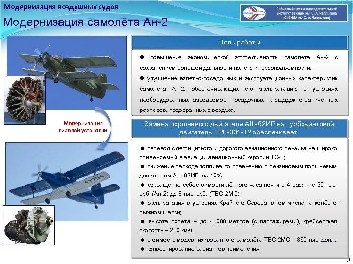 Модернизация воздушных судов Модернизация самолёта Ан-2 Цель работы повышение экономической эффективности самолёта Ан-2 с