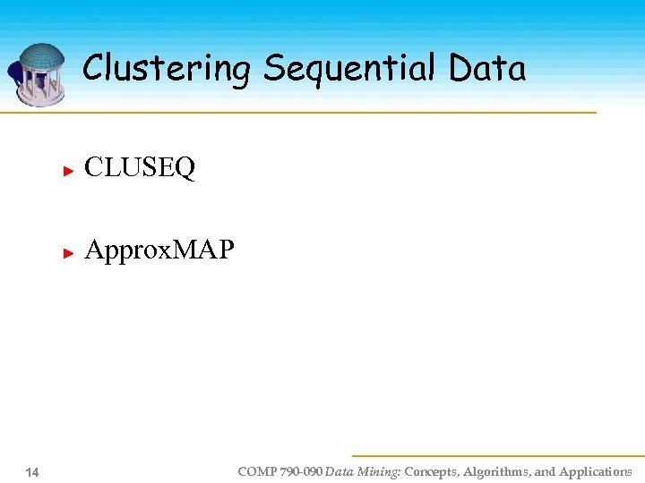 Clustering Sequential Data CLUSEQ Approx. MAP 14 COMP 790 -090 Data Mining: Concepts, Algorithms,