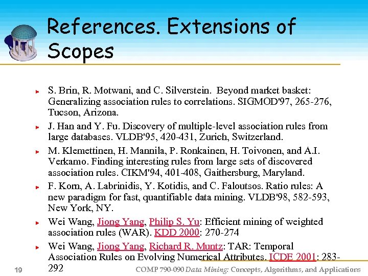 References. Extensions of Scopes 19 S. Brin, R. Motwani, and C. Silverstein. Beyond market