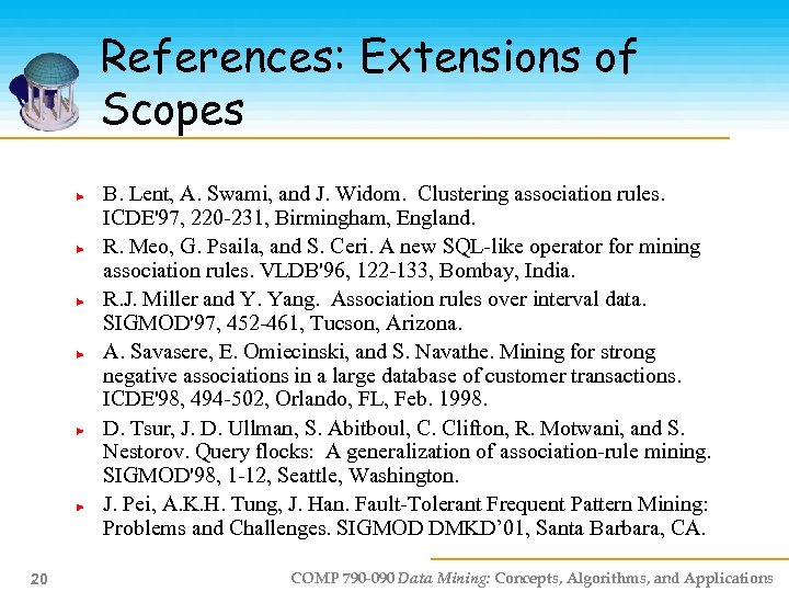 References: Extensions of Scopes B. Lent, A. Swami, and J. Widom. Clustering association rules.
