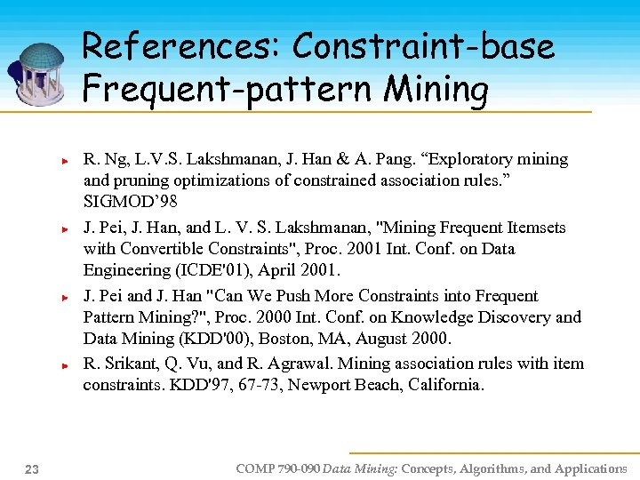 References: Constraint-base Frequent-pattern Mining R. Ng, L. V. S. Lakshmanan, J. Han & A.