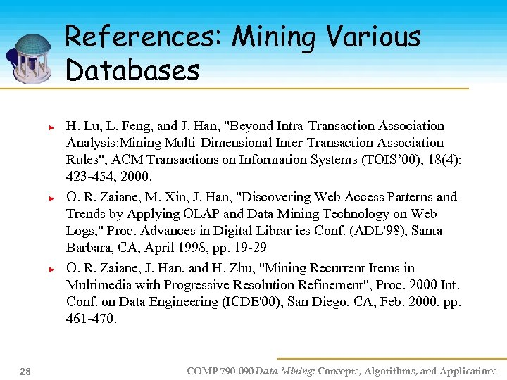 References: Mining Various Databases H. Lu, L. Feng, and J. Han,