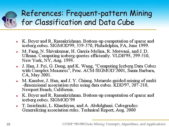References: Frequent-pattern Mining for Classification and Data Cube K. Beyer and R. Ramakrishnan. Bottom-up