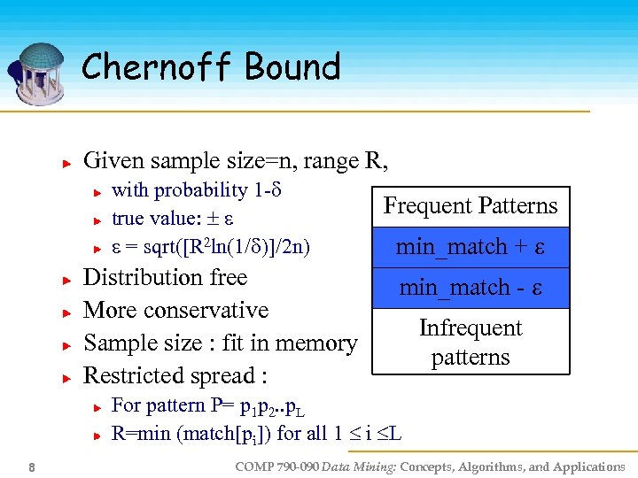Chernoff Bound Given sample size=n, range R, with probability 1 - true value: =