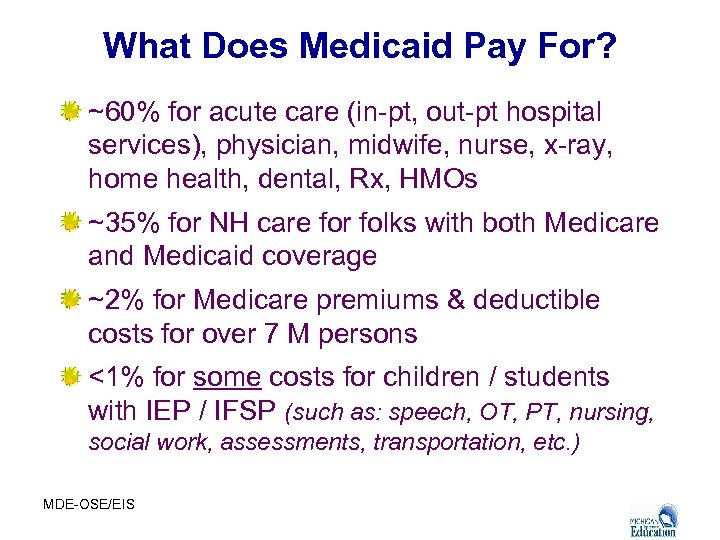 What Does Medicaid Pay For? ~60% for acute care (in-pt, out-pt hospital services), physician,