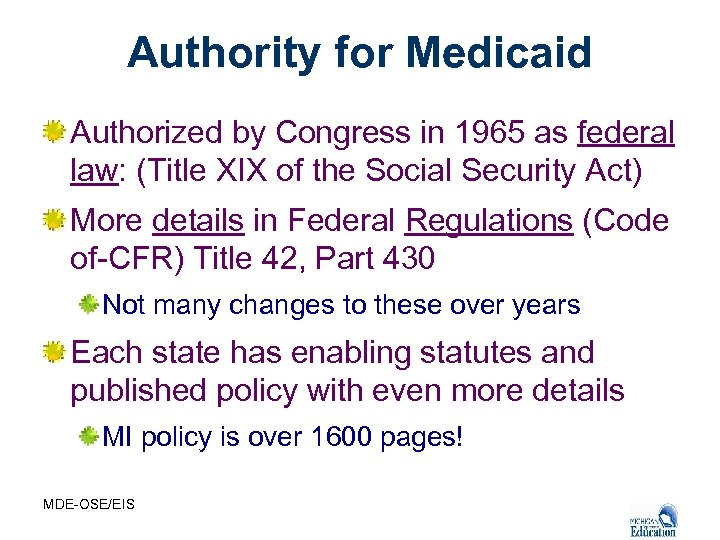 Authority for Medicaid Authorized by Congress in 1965 as federal law: (Title XIX of