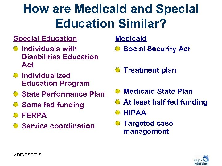 How are Medicaid and Special Education Similar? Special Education Individuals with Disabilities Education Act