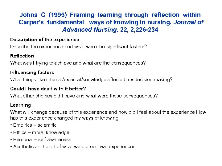 Johns C (1995) Framing learning through reflection within Carper's fundamental ways of knowing in