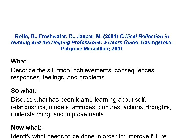 Rolfe, G. , Freshwater, D. , Jasper, M. (2001) Critical Reflection in Nursing and