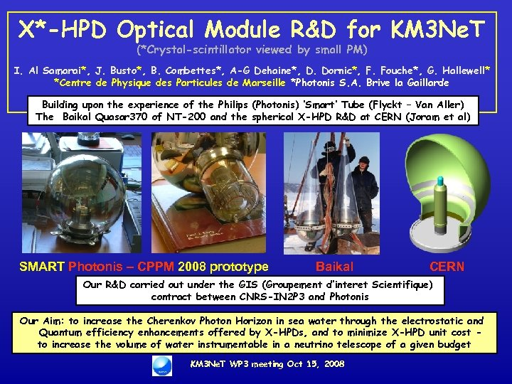 X*-HPD Optical Module R&D for KM 3 Ne. T (*Crystal-scintillator viewed by small PM)