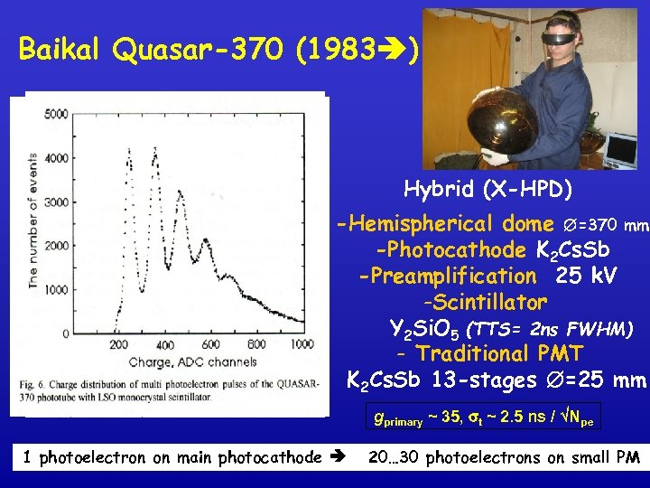 Baikal Quasar-370 (1983 ) Hybrid (X-HPD) -Hemispherical dome =370 mm -Photocathode K 2 Cs.
