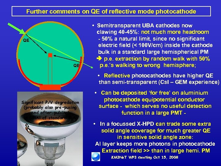 Further comments on QE of reflective mode photocathode QE Significant P/V degredation (probably also
